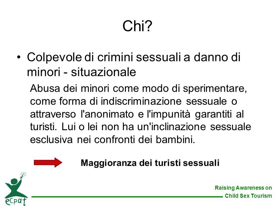 Raising Awareness on Child Sex Tourism Colpevole di crimini sessuali a danno di minori - situazionale Abusa dei minori come modo di sperimentare, come