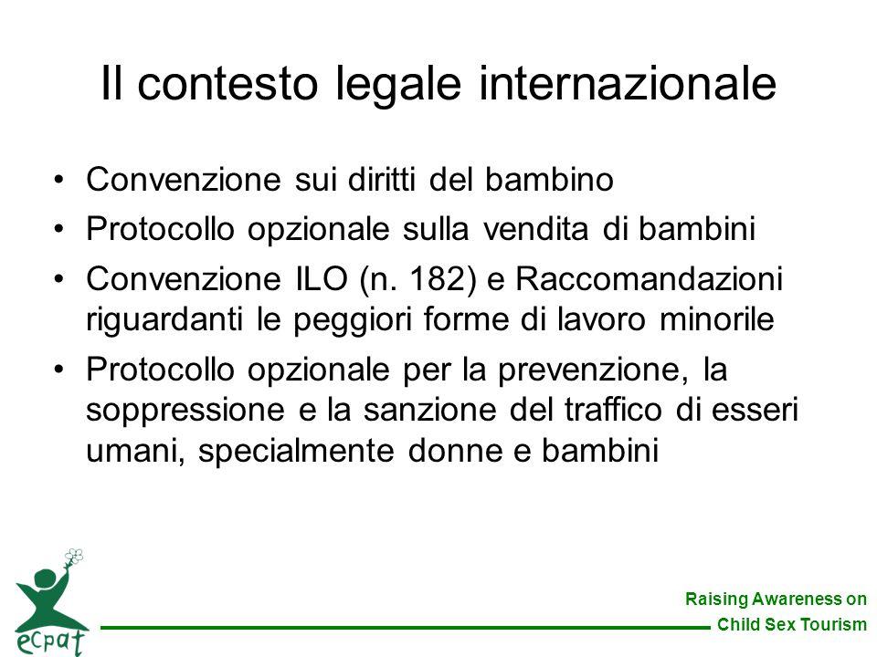 Raising Awareness on Child Sex Tourism Il contesto legale internazionale Convenzione sui diritti del bambino Protocollo opzionale sulla vendita di bam