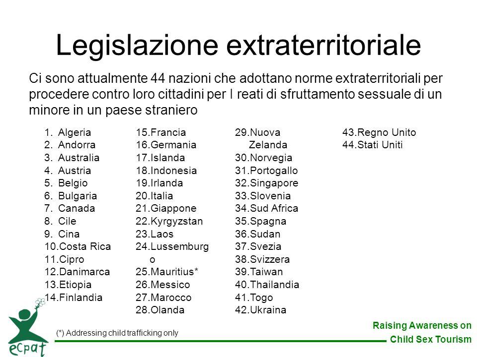 Raising Awareness on Child Sex Tourism Legislazione extraterritoriale Ci sono attualmente 44 nazioni che adottano norme extraterritoriali per proceder