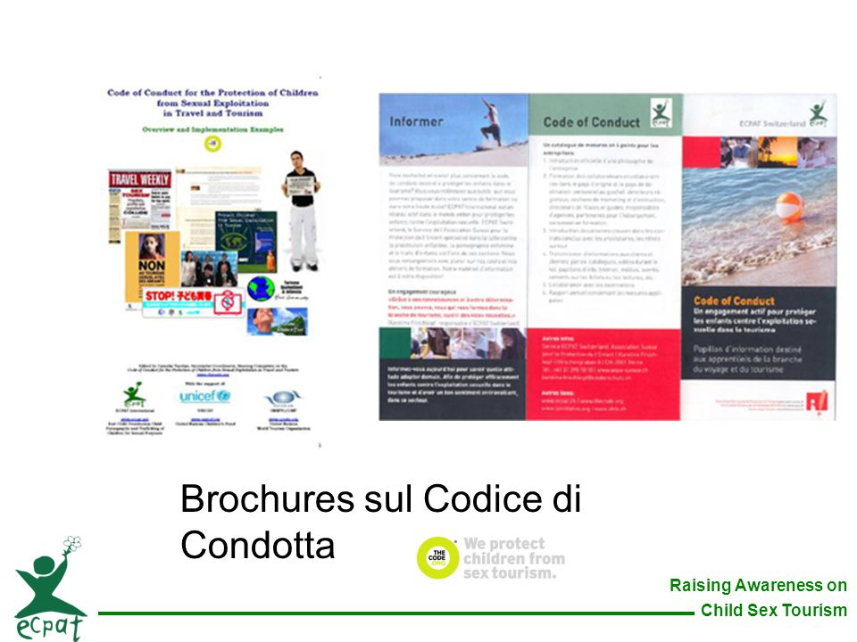 Raising Awareness on Child Sex Tourism Brochures sul Codice di Condotta