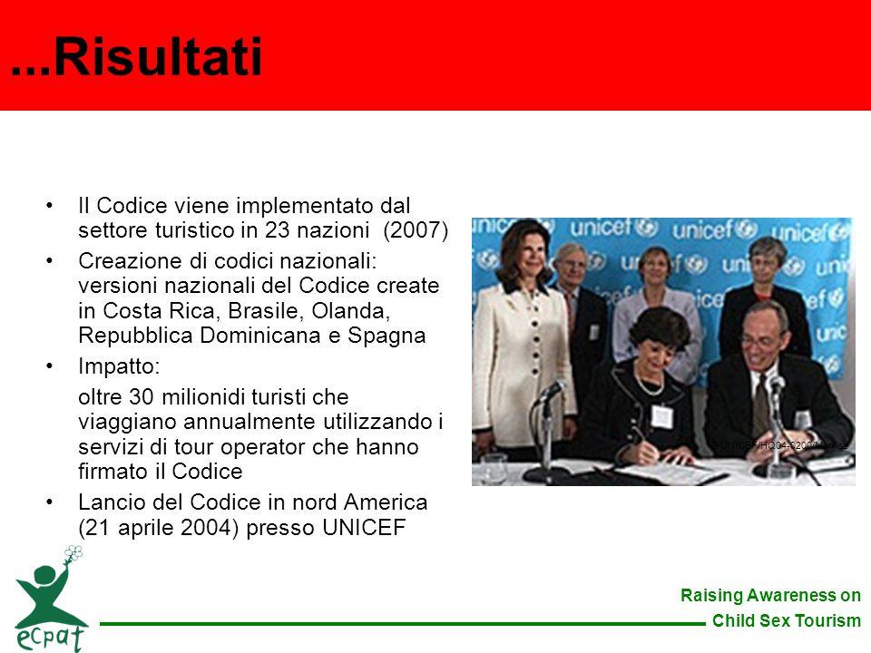Raising Awareness on Child Sex Tourism Il Codice viene implementato dal settore turistico in 23 nazioni (2007) Creazione di codici nazionali: versioni