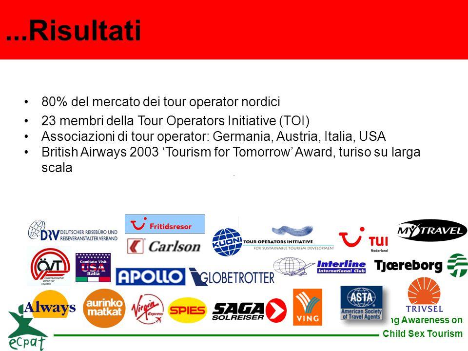Raising Awareness on Child Sex Tourism 80% del mercato dei tour operator nordici 23 membri della Tour Operators Initiative (TOI) Associazioni di tour