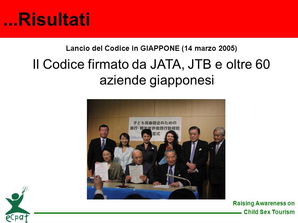 Raising Awareness on Child Sex Tourism Lancio del Codice in GIAPPONE (14 marzo 2005) Il Codice firmato da JATA, JTB e oltre 60 aziende giapponesi...Ri
