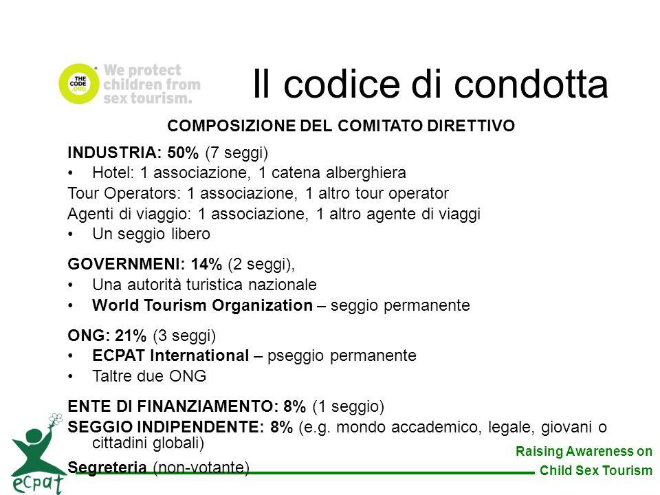 Raising Awareness on Child Sex Tourism COMPOSIZIONE DEL COMITATO DIRETTIVO INDUSTRIA: 50% (7 seggi) Hotel: 1 associazione, 1 catena alberghiera Tour O