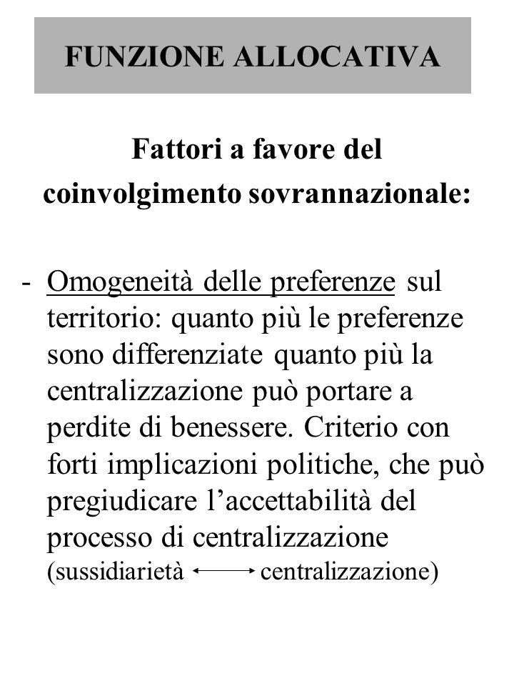 FUNZIONE ALLOCATIVA Fattori a favore del coinvolgimento sovrannazionale: -Omogeneità delle preferenze sul territorio: quanto più le preferenze sono di