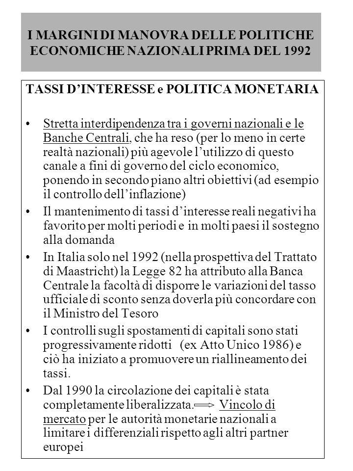 I MARGINI DI MANOVRA DELLE POLITICHE ECONOMICHE NAZIONALI PRIMA DEL 1992 TASSI D'INTERESSE e POLITICA MONETARIA Stretta interdipendenza tra i governi