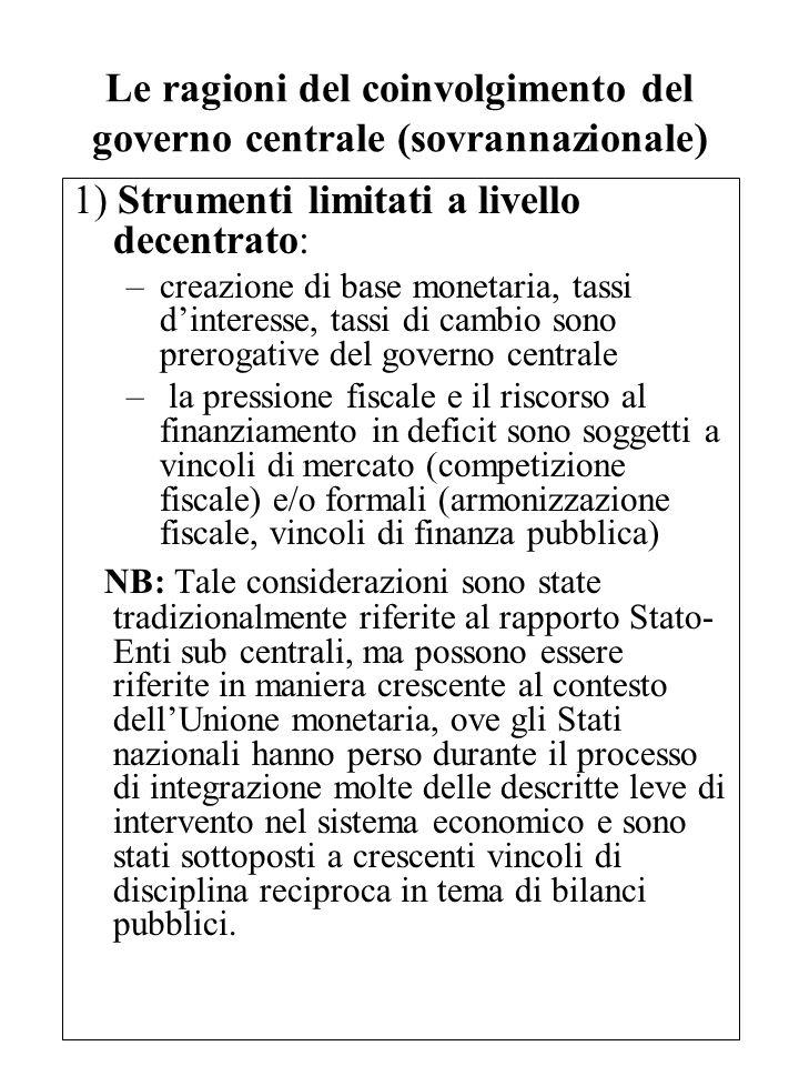 Le ragioni del coinvolgimento del governo centrale (sovrannazionale) 1) Strumenti limitati a livello decentrato: –creazione di base monetaria, tassi d