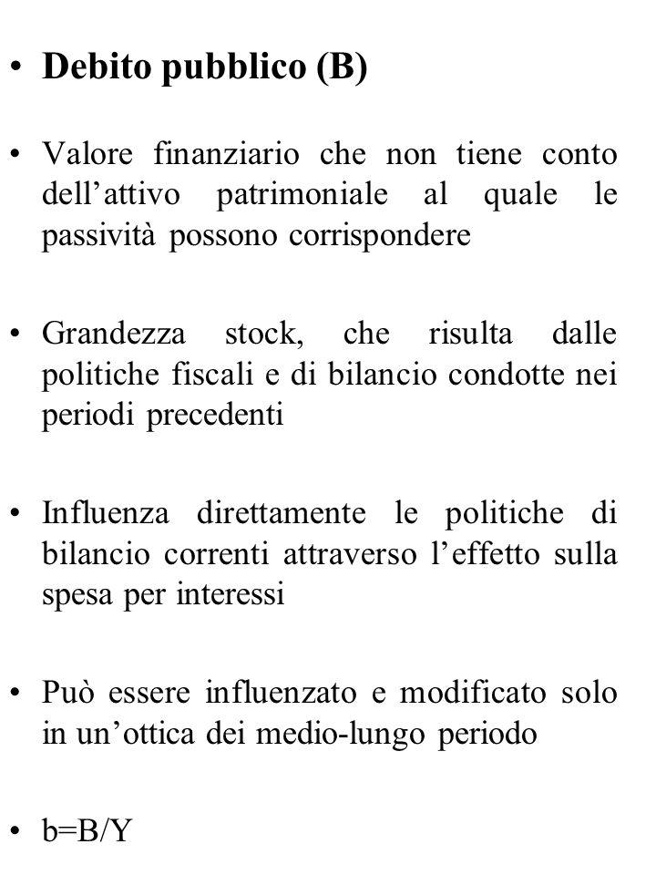 Debito pubblico (B) Valore finanziario che non tiene conto dell'attivo patrimoniale al quale le passività possono corrispondere Grandezza stock, che r