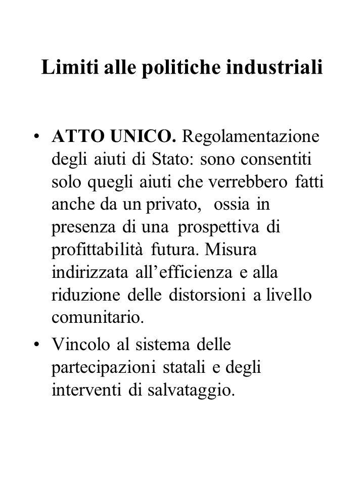 Limiti alle politiche industriali ATTO UNICO. Regolamentazione degli aiuti di Stato: sono consentiti solo quegli aiuti che verrebbero fatti anche da u
