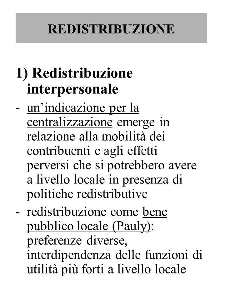 REDISTRIBUZIONE 1) Redistribuzione interpersonale -un'indicazione per la centralizzazione emerge in relazione alla mobilità dei contribuenti e agli ef