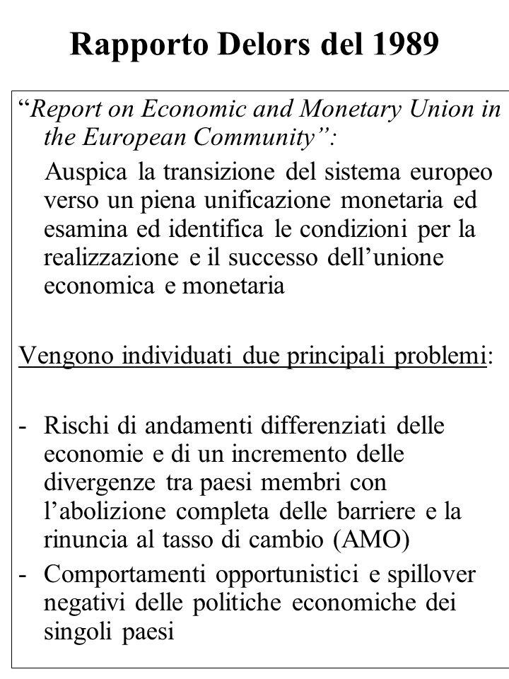 """Rapporto Delors del 1989 """"Report on Economic and Monetary Union in the European Community"""": Auspica la transizione del sistema europeo verso un piena"""
