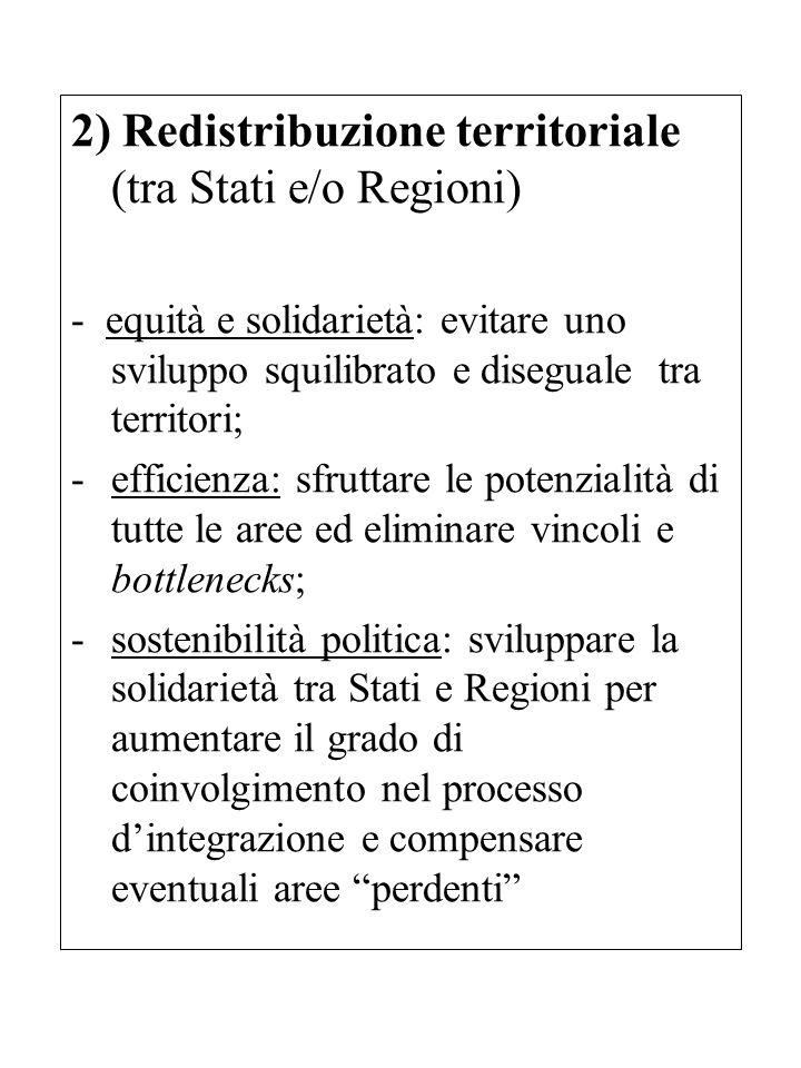 2) Redistribuzione territoriale (tra Stati e/o Regioni) - equità e solidarietà: evitare uno sviluppo squilibrato e diseguale tra territori; -efficienz