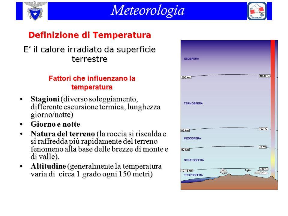 Fattori che influenzano la temperatura Stagioni (diverso soleggiamento, differente escursione termica, lunghezza giorno/notte)Stagioni (diverso solegg