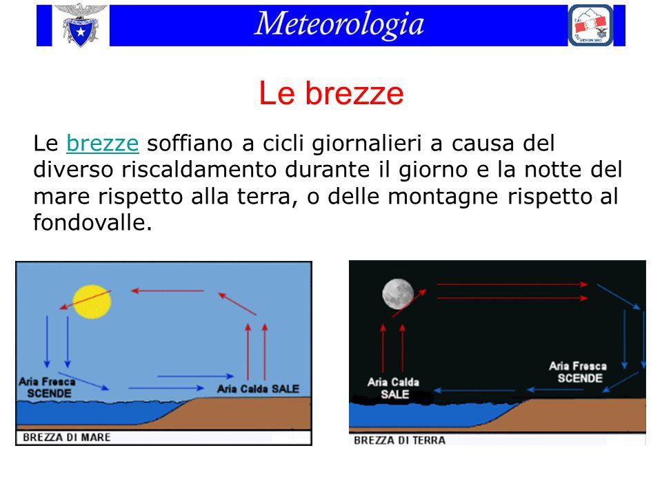 Le brezze Le brezze soffiano a cicli giornalieri a causa del diverso riscaldamento durante il giorno e la notte del mare rispetto alla terra, o delle