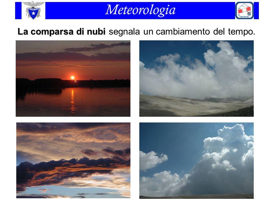 La comparsa di nubi La comparsa di nubi segnala un cambiamento del tempo.