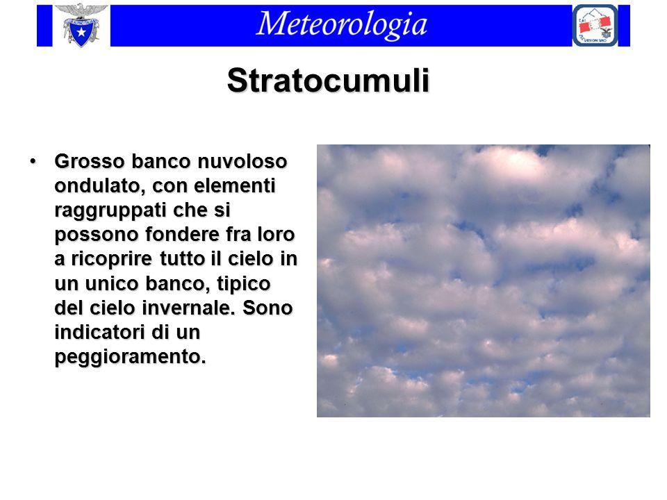 Stratocumuli Grosso banco nuvoloso ondulato, con elementi raggruppati che si possono fondere fra loro a ricoprire tutto il cielo in un unico banco, ti