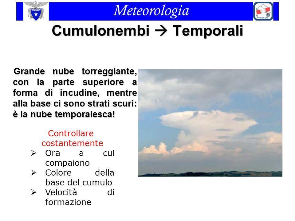 Cumulonembi  Temporali Grande nube torreggiante, con la parte superiore a forma di incudine, mentre alla base ci sono strati scuri: è la nube tempora