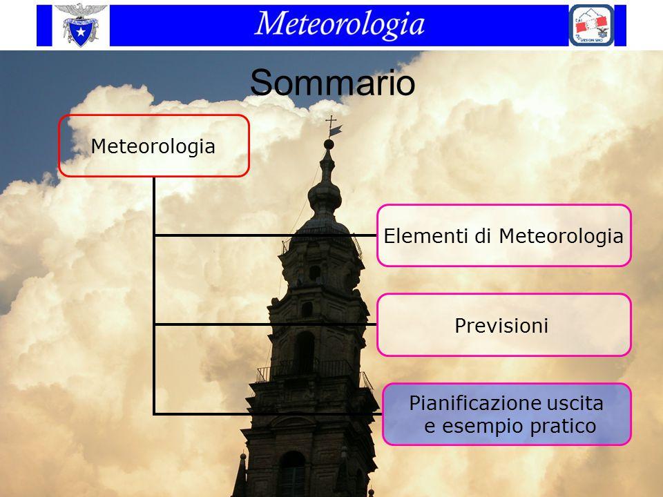 Sommario Meteorologia Elementi di Meteorologia Previsioni Pianificazione uscita e esempio pratico