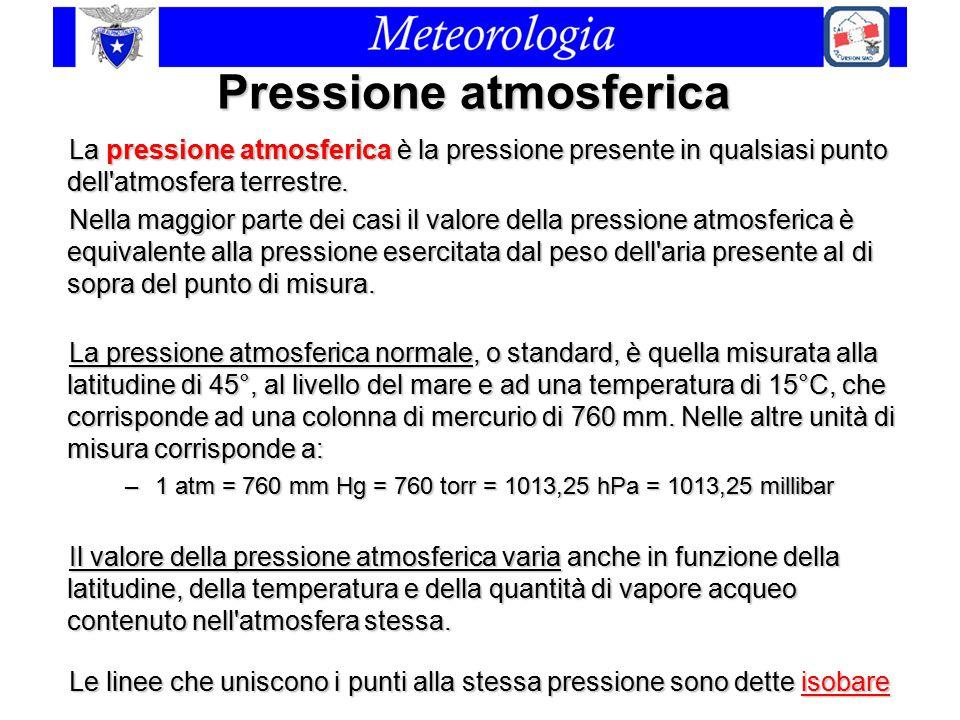 Pressione atmosferica La pressione atmosferica è la pressione presente in qualsiasi punto dell'atmosfera terrestre. Nella maggior parte dei casi il va