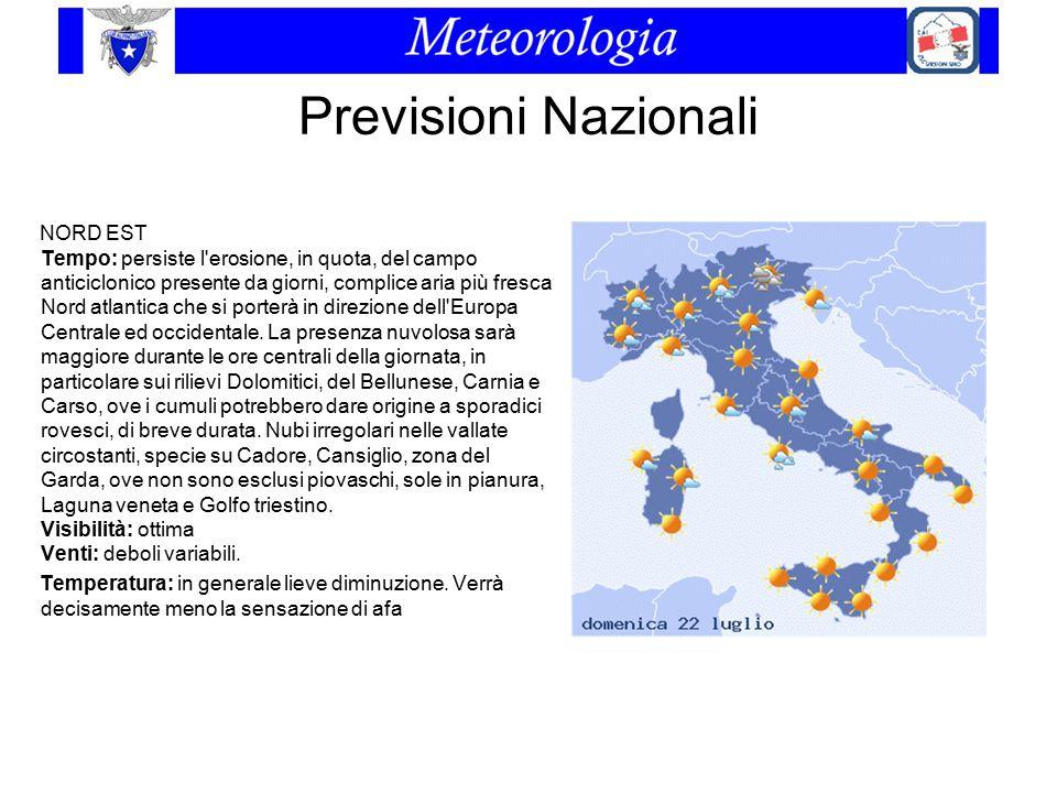 Previsioni Nazionali NORD EST Tempo: persiste l'erosione, in quota, del campo anticiclonico presente da giorni, complice aria più fresca Nord atlantic