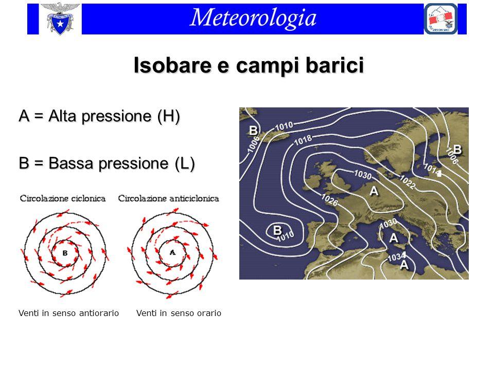 Isobare e campi barici A = Alta pressione (H) B = Bassa pressione (L) Venti in senso antiorario Venti in senso orario