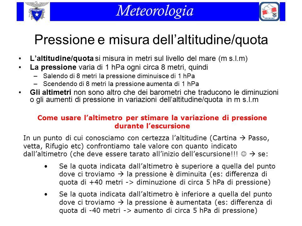 Pressione e misura dell'altitudine/quota L'altitudine/quota si misura in metri sul livello del mare (m s.l.m) La pressione varia di 1 hPa ogni circa 8