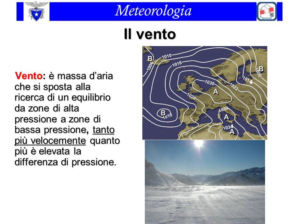 Il vento Vento: è massa d'aria che si sposta alla ricerca di un equilibrio da zone di alta pressione a zone di bassa pressione, tanto più velocemente