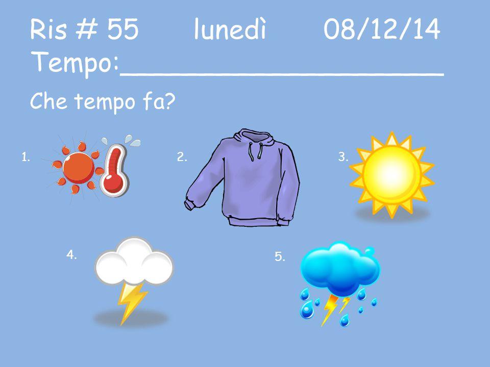 Ris # 55 lunedì08/12/14 Tempo:___________________ Che tempo fa? 1.2.3.3. 4.4. 5.