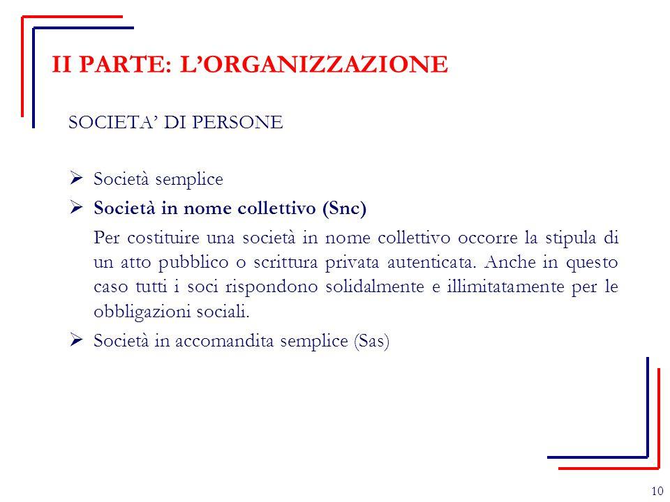 II PARTE: L'ORGANIZZAZIONE SOCIETA' DI PERSONE  Società semplice  Società in nome collettivo (Snc) Per costituire una società in nome collettivo occ