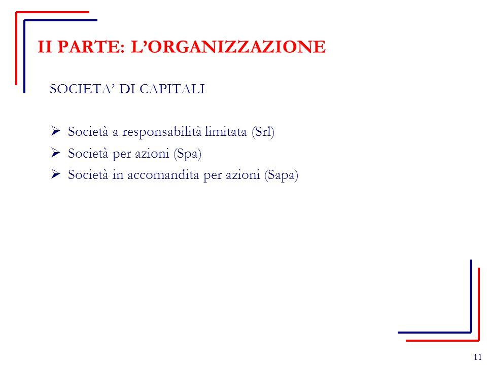 II PARTE: L'ORGANIZZAZIONE SOCIETA' DI CAPITALI  Società a responsabilità limitata (Srl)  Società per azioni (Spa)  Società in accomandita per azio