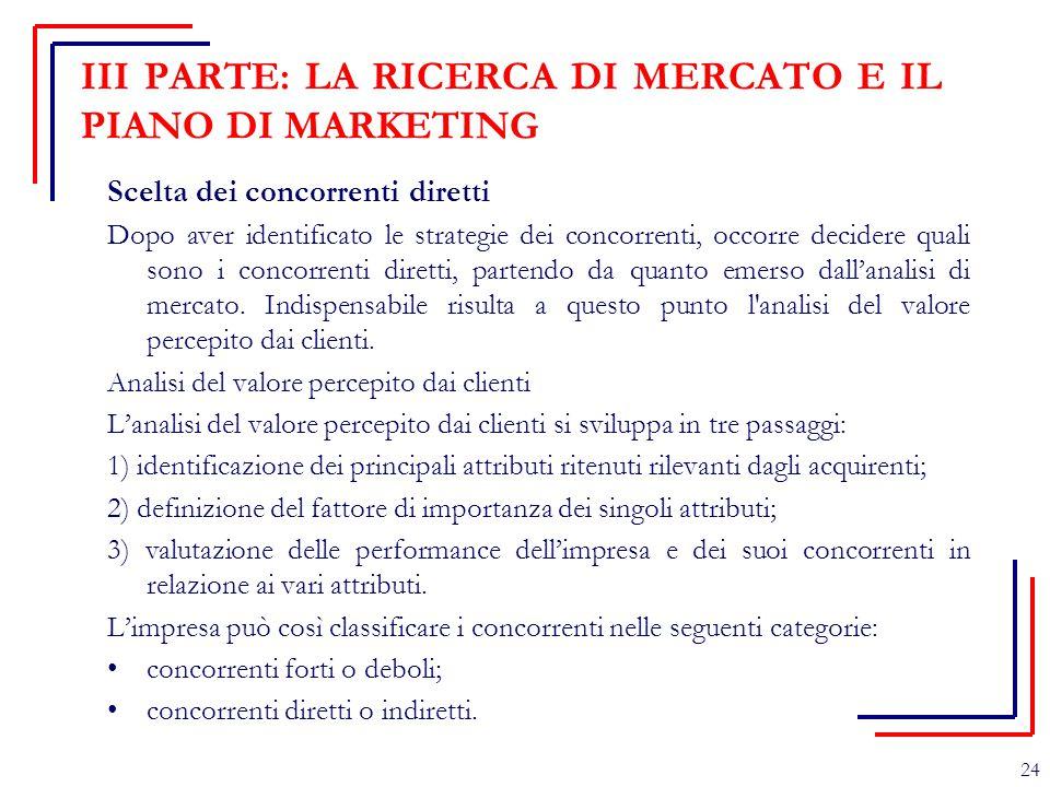 III PARTE: LA RICERCA DI MERCATO E IL PIANO DI MARKETING Scelta dei concorrenti diretti Dopo aver identificato le strategie dei concorrenti, occorre d
