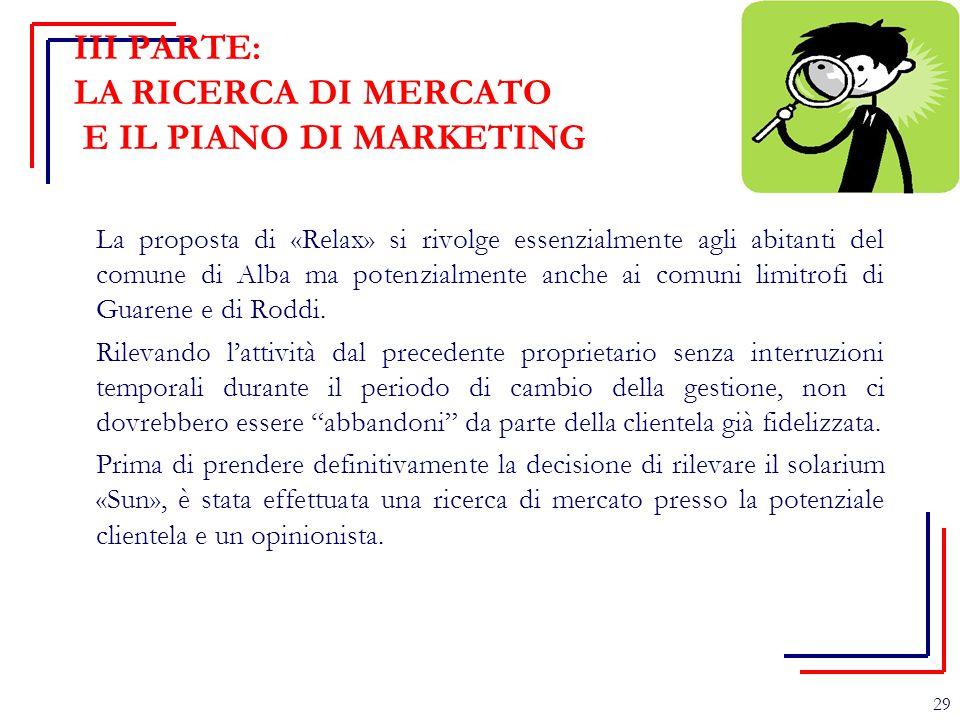 III PARTE: LA RICERCA DI MERCATO E IL PIANO DI MARKETING La proposta di «Relax» si rivolge essenzialmente agli abitanti del comune di Alba ma potenzia