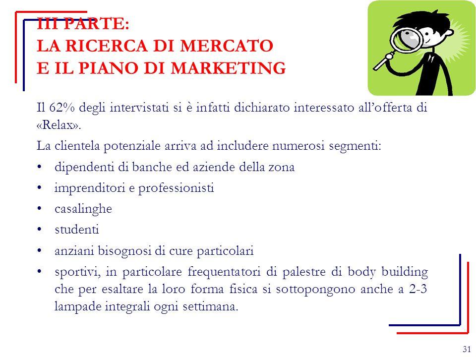 III PARTE: LA RICERCA DI MERCATO E IL PIANO DI MARKETING Il 62% degli intervistati si è infatti dichiarato interessato all'offerta di «Relax». La clie