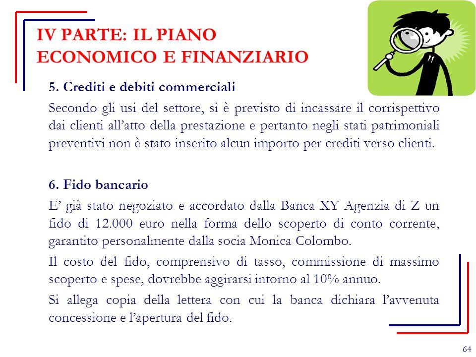 IV PARTE: IL PIANO ECONOMICO E FINANZIARIO 5. Crediti e debiti commerciali Secondo gli usi del settore, si è previsto di incassare il corrispettivo da