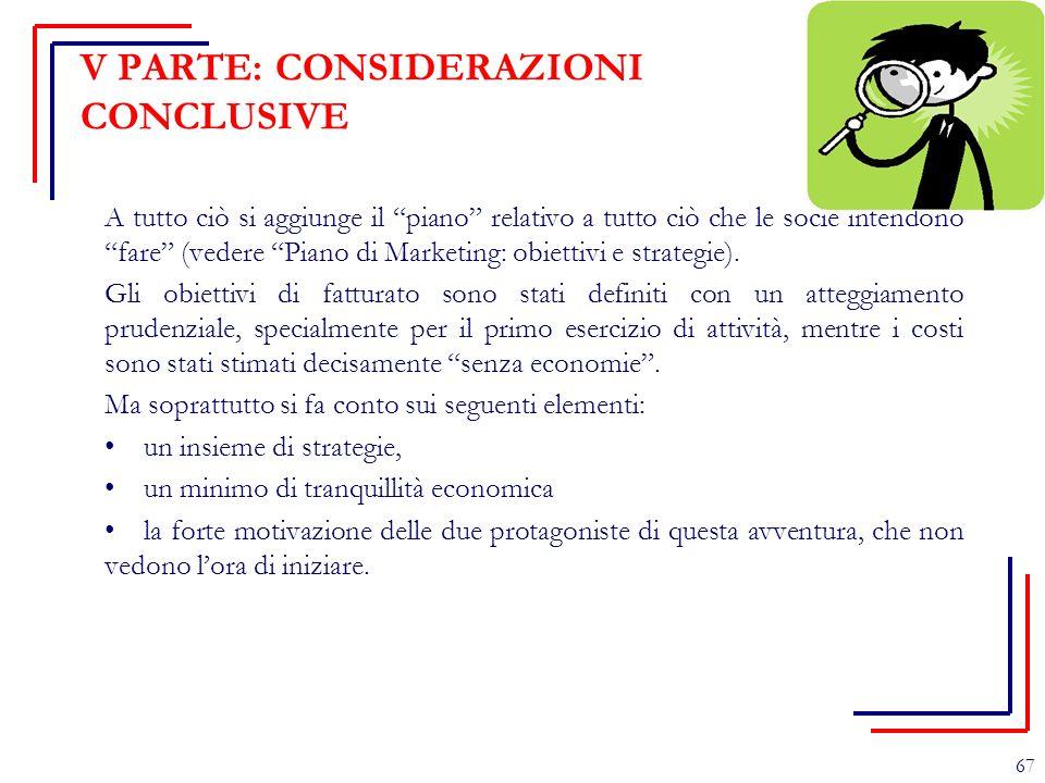 """V PARTE: CONSIDERAZIONI CONCLUSIVE A tutto ciò si aggiunge il """"piano"""" relativo a tutto ciò che le socie intendono """"fare"""" (vedere """"Piano di Marketing:"""