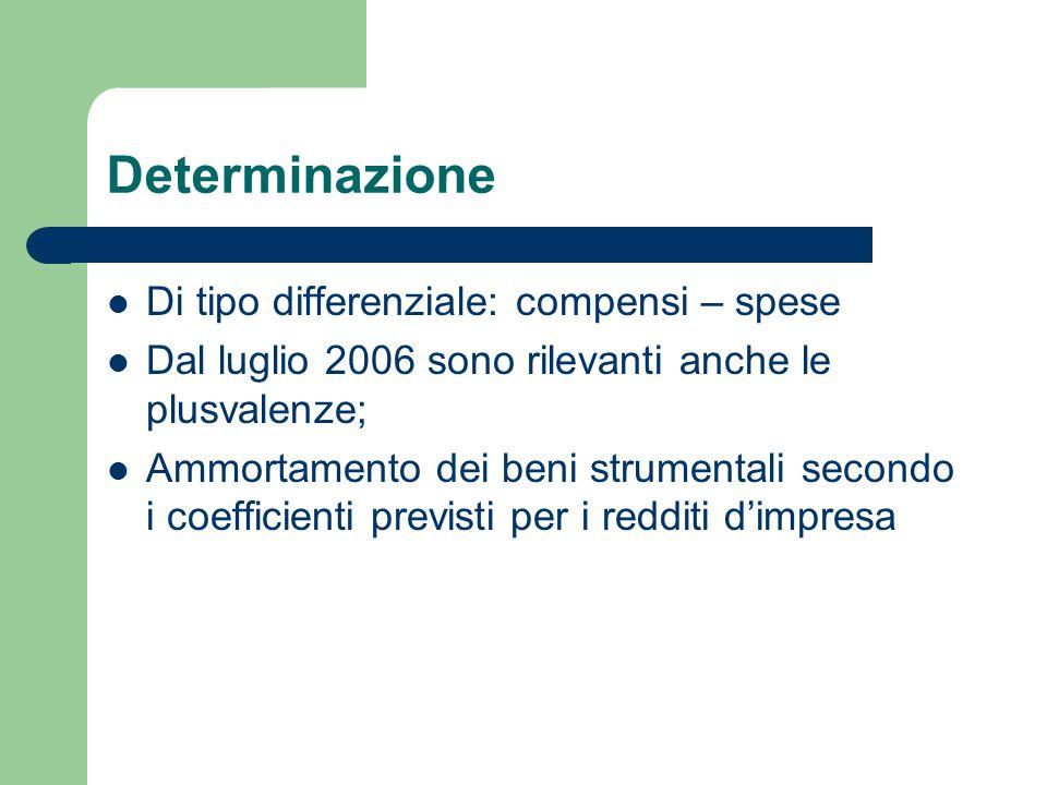 Determinazione Di tipo differenziale: compensi – spese Dal luglio 2006 sono rilevanti anche le plusvalenze; Ammortamento dei beni strumentali secondo i coefficienti previsti per i redditi d'impresa