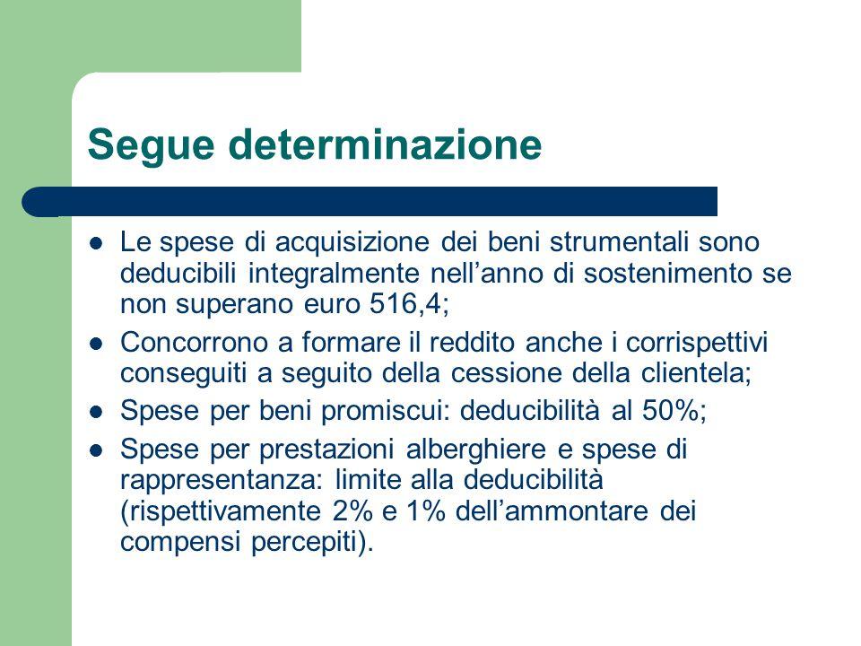 Segue determinazione Le spese di acquisizione dei beni strumentali sono deducibili integralmente nell'anno di sostenimento se non superano euro 516,4; Concorrono a formare il reddito anche i corrispettivi conseguiti a seguito della cessione della clientela; Spese per beni promiscui: deducibilità al 50%; Spese per prestazioni alberghiere e spese di rappresentanza: limite alla deducibilità (rispettivamente 2% e 1% dell'ammontare dei compensi percepiti).