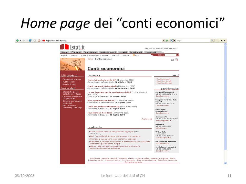 Home page dei conti economici 03/10/200811Le fonti web dei dati di CN