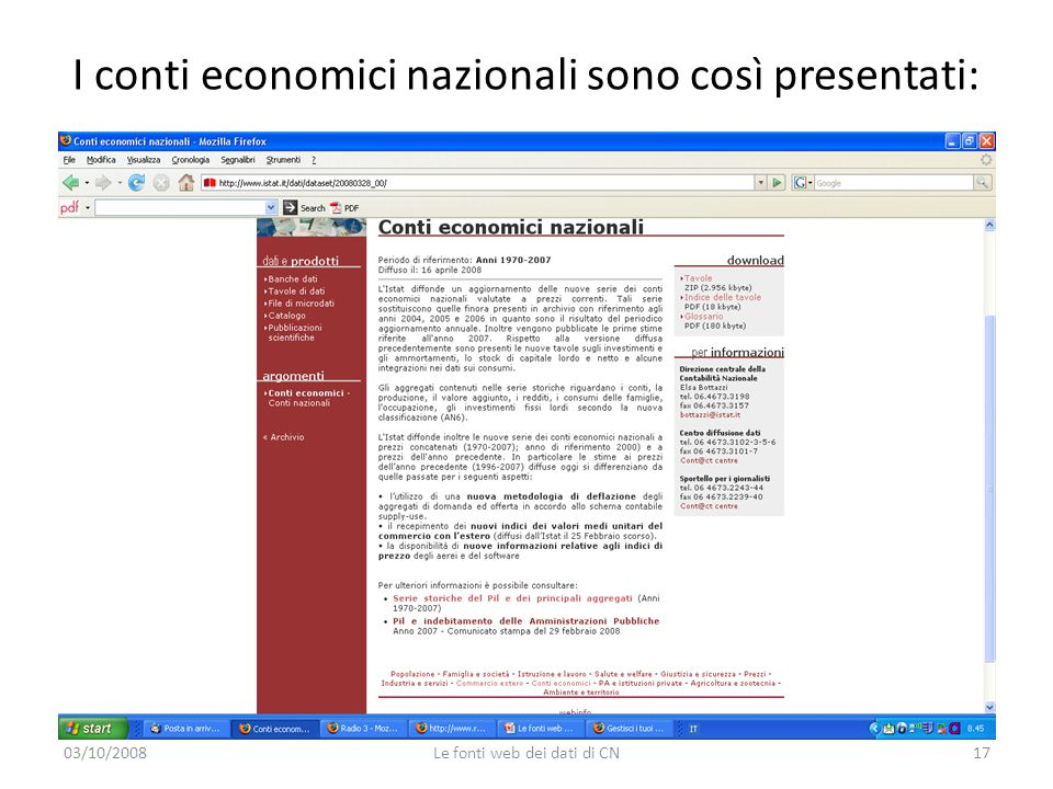 I conti economici nazionali sono così presentati: 03/10/2008Le fonti web dei dati di CN17