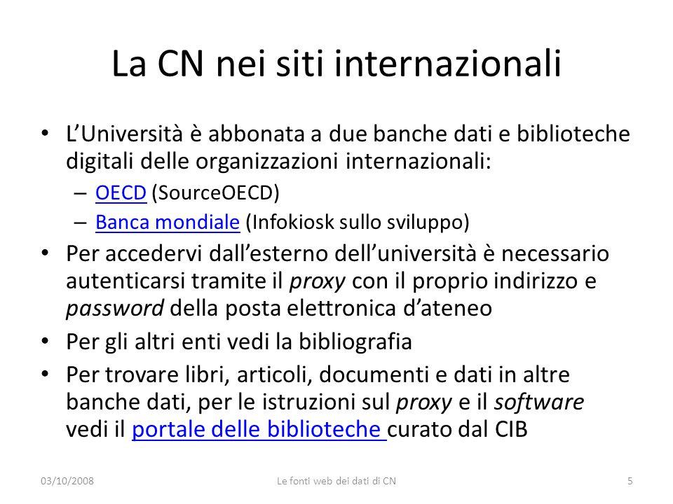 03/10/2008Le fonti web dei dati di CN16