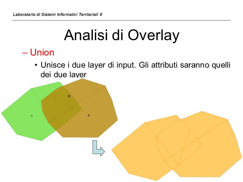 Analisi di Overlay –Union Unisce i due layer di input. Gli attributi saranno quelli dei due layer Laboratorio di Sistemi Informativi Territoriali II