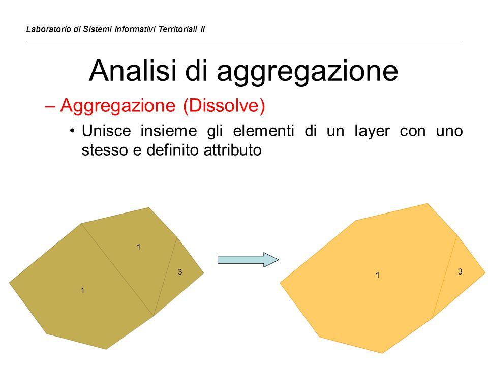 Analisi di aggregazione –Aggregazione (Dissolve) Unisce insieme gli elementi di un layer con uno stesso e definito attributo Laboratorio di Sistemi In