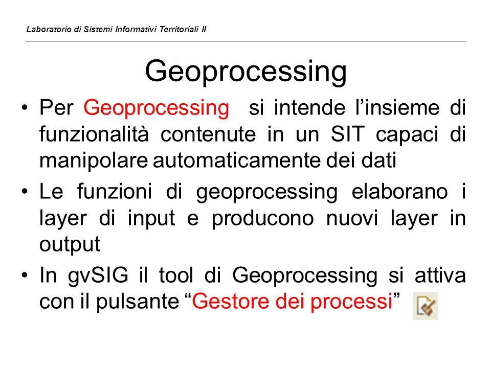 Geoprocessing Per Geoprocessing si intende l'insieme di funzionalità contenute in un SIT capaci di manipolare automaticamente dei dati Le funzioni di