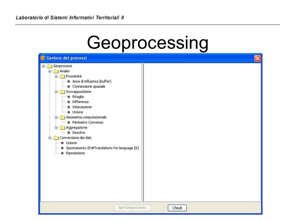 Geoprocessing Laboratorio di Sistemi Informativi Territoriali II
