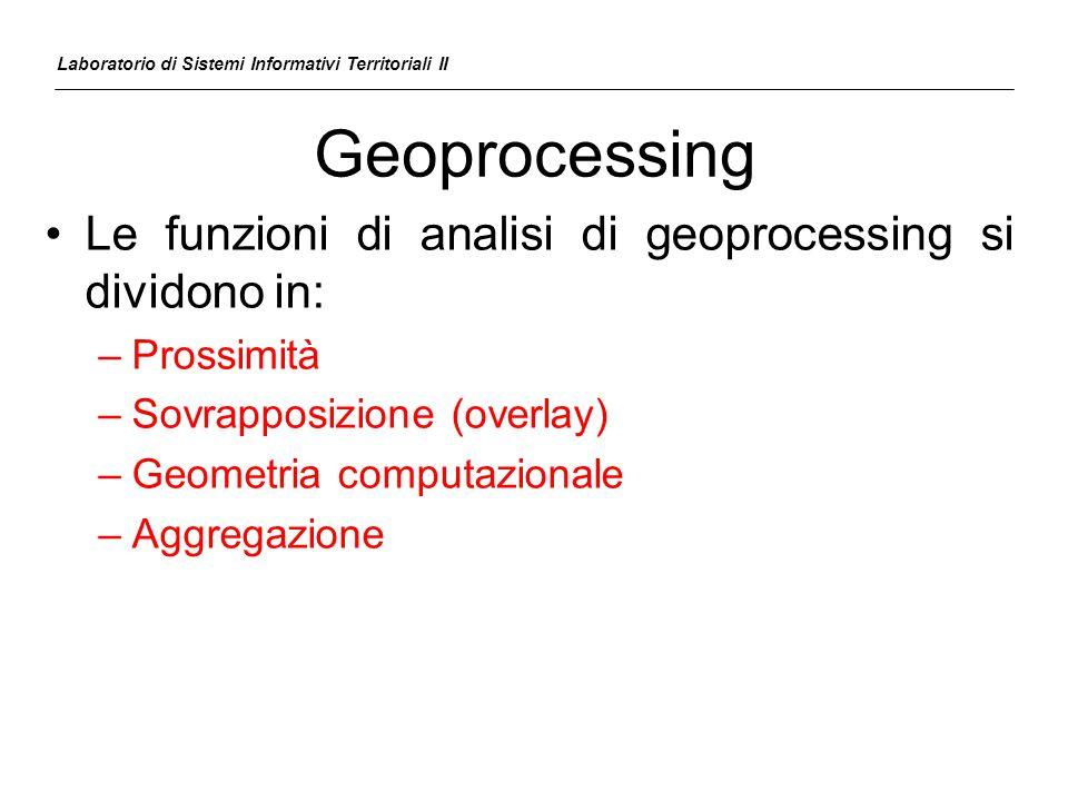 Geoprocessing Le funzioni di analisi di geoprocessing si dividono in: –Prossimità –Sovrapposizione (overlay) –Geometria computazionale –Aggregazione L