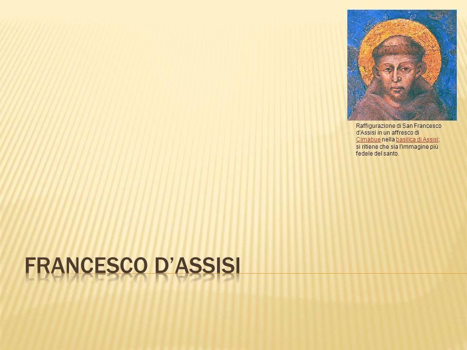 Raffigurazione di San Francesco d'Assisi in un affresco di Cimabue nella basilica di Assisi; si ritiene che sia l'immagine più fedele del santo. Cimab
