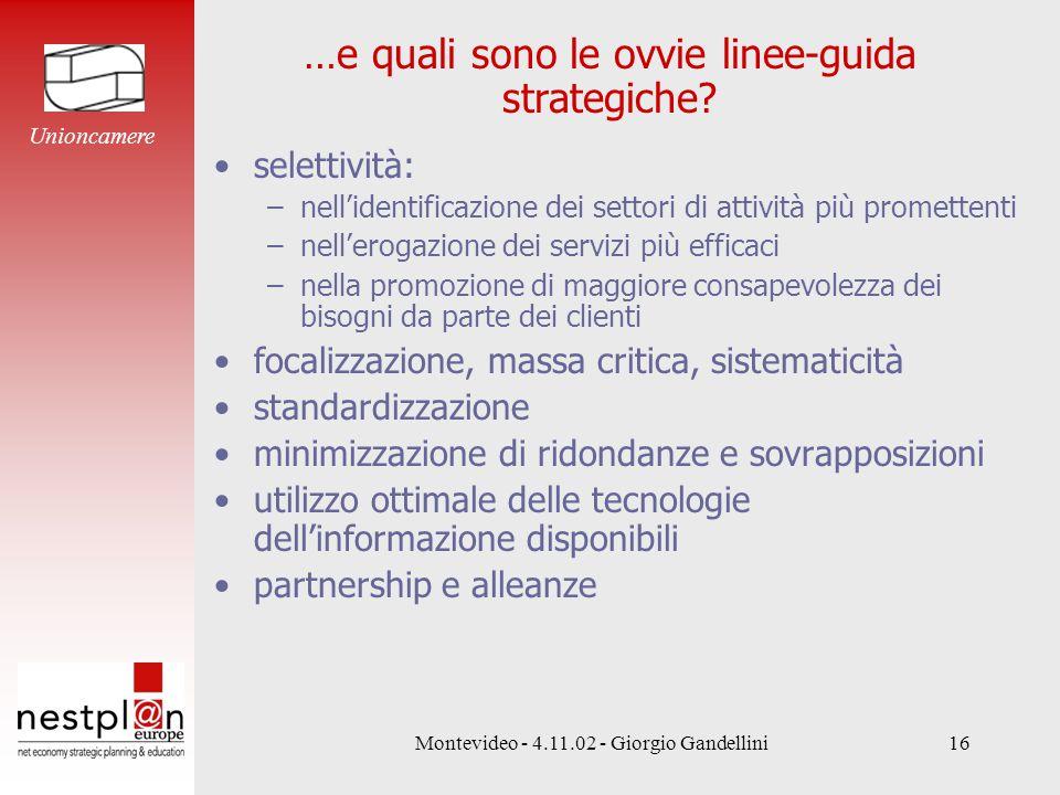 Montevideo - 4.11.02 - Giorgio Gandellini16 …e quali sono le ovvie linee-guida strategiche.