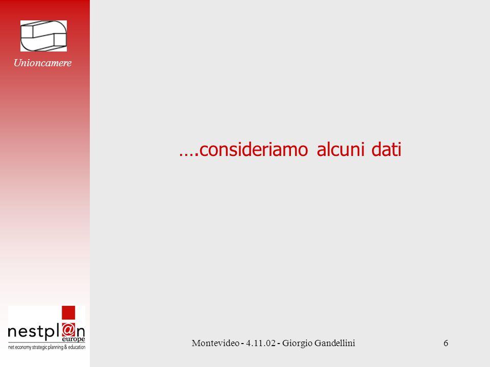 Montevideo - 4.11.02 - Giorgio Gandellini6 ….consideriamo alcuni dati Unioncamere