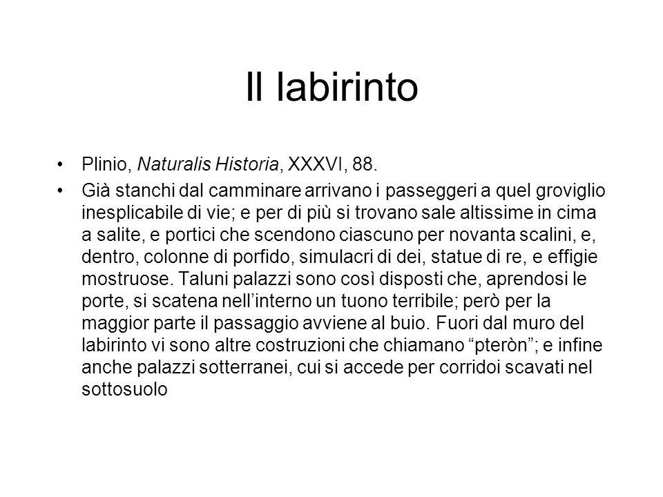 Il labirinto Plinio, Naturalis Historia, XXXVI, 88. Già stanchi dal camminare arrivano i passeggeri a quel groviglio inesplicabile di vie; e per di pi