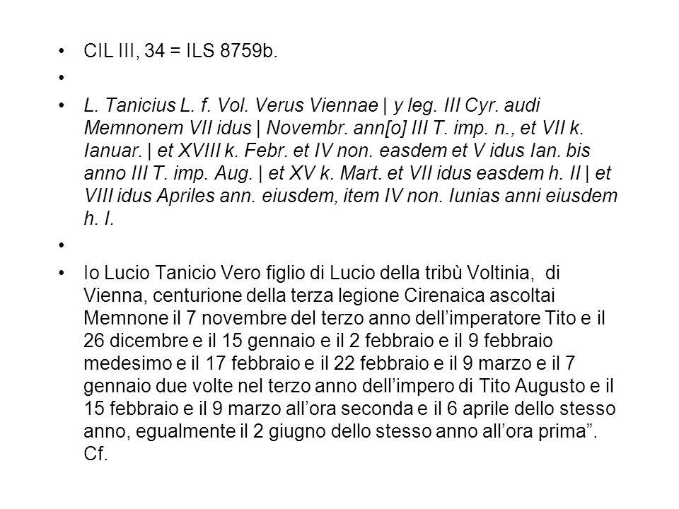 CIL III, 34 = ILS 8759b. L. Tanicius L. f. Vol. Verus Viennae   y leg. III Cyr. audi Memnonem VII idus   Novembr. ann[o] III T. imp. n., et VII k. Ian